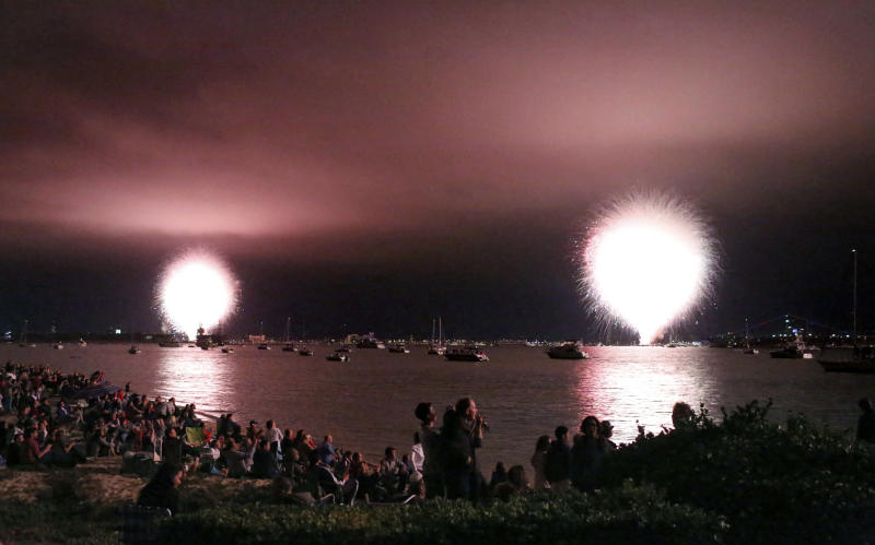 Spectators watch from Coronado Island in San Diego as a malfunction causes the entire Fourth of July fireworks show go off all at once, Wednesday, July 4, 2012. The Coast Guard says the mishap occurred minutes before the scheduled opening of the Big Bay Boom show. More than 500,000 people witnessed the short-lived spectacle. No injuries were reported. (AP Photo/The U-T San Diego, James Gregg)  MANDATORY CREDIT: Photo by James Gregg U-T San Diego; NO SALES, NO ARCHIVING, SAN DIEGO COUNTY OUT, TV OUT, MAGS OUT, FOREIGN OUT, TABLOIDS OUT, AP IMAGES OUT, COMMERCIAL INTERNET USE OUT.