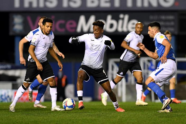 Jamal Lowe of Swansea City against Birmingham City (Athena Pictures / Getty Images)