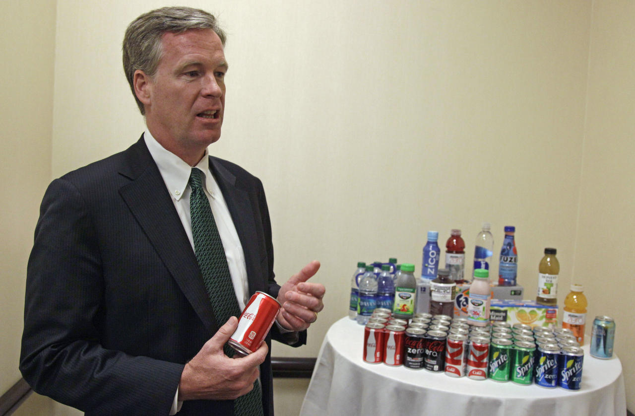 Steve Cahillane, president and CEO of Coca-Cola Refreshments, Inc., speaks during an interview with the Associated Press Thursday, June 7, 2012, while attending the Clinton Global Initiative America gathering in Chicago. Cahillane said that New York Mayor Michael Bloomberg's proposal to ban the sale of large sodas and other sugary drinks unfairly singles out an industry. He says the measure is overly simplistic and would do nothing to address the complex problems of obesity and other health issues. (AP Photo/M. Spencer Green)
