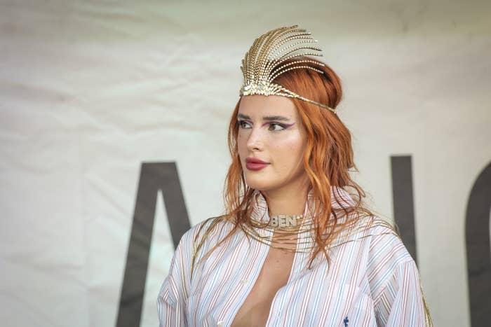 Bella Thorne is pictured wearing a tiara during a Milan Pride event in 2021