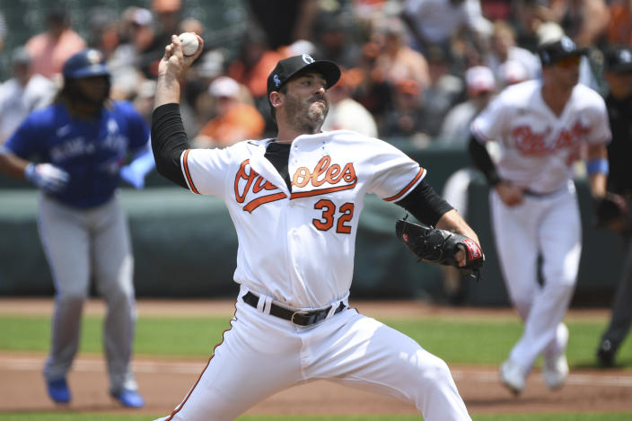 Baltimore Orioles starting pitcher Matt Harvey throws a pitch during the first inning of a baseball game against the Toronto Blue Jays, Sunday, June 20, 2021, in Baltimore. (AP Photo/Terrance Williams)