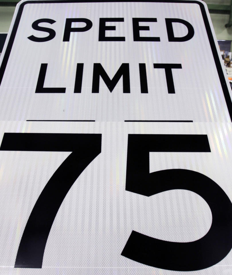 A new 75 mph sign is shown in Augusta, Maine, at Maine's Transportation Department on Wednesday, Sept. 28, 2011. Next week motorists will be permitted to drive faster when the speed limit becomes 75 mph, the fastest in New England. Maine's Transportation Department will post 75 mph speed limits from Old Town to Houlton. (AP Photo/Pat Wellenbach)