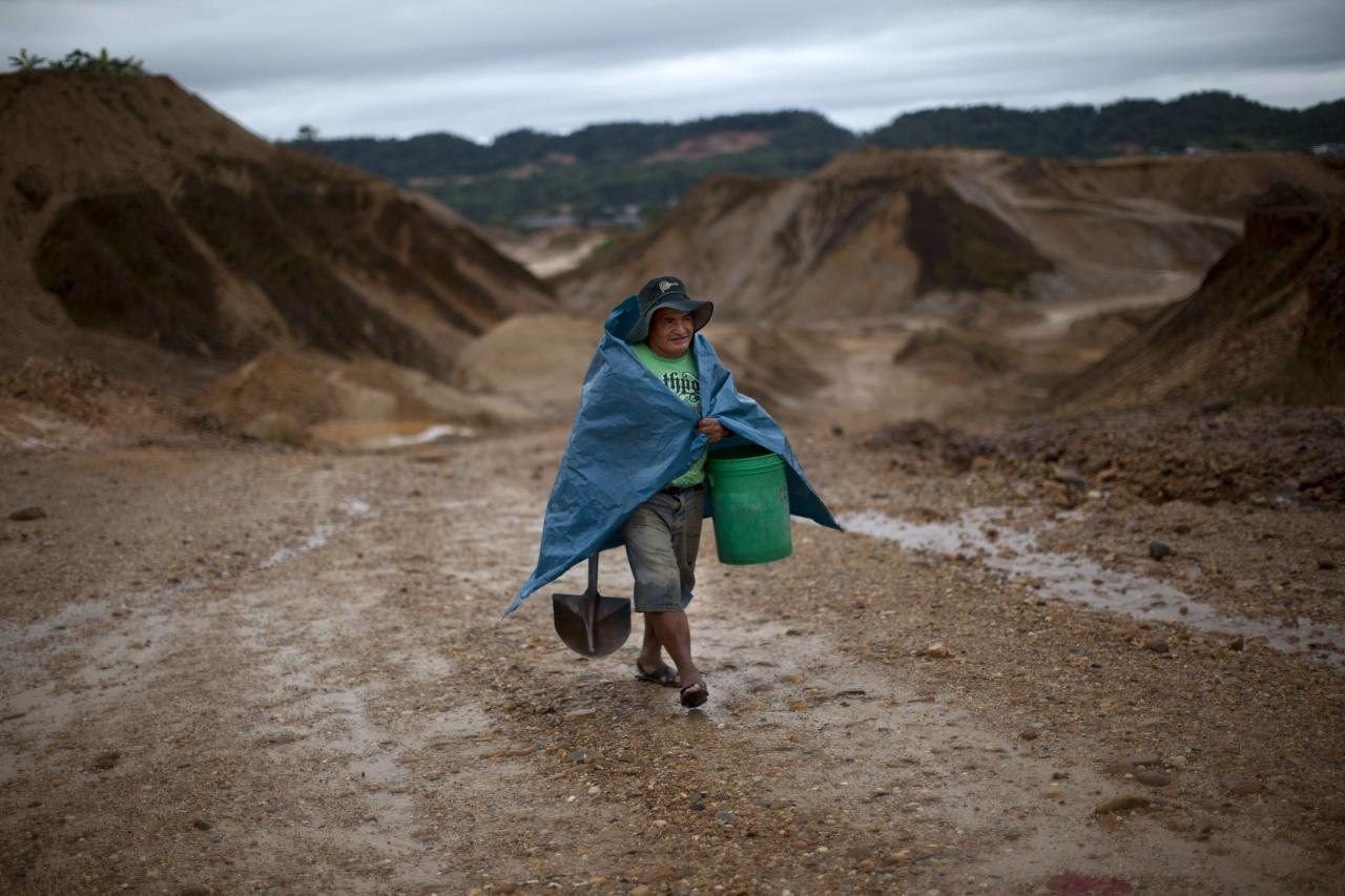 In this May 22, 2014 photo, a miner carries a bucket and shovel as he arrives to mine for gold in Huepetuhe in the Madre de Dios region of Peru. After a government crackdown on illegal mining companies in April, the miners who stayed behind are reduced to rudimentary gold extraction using pickaxes, shovels and small motors. (AP Photo/Rodrigo Abd)