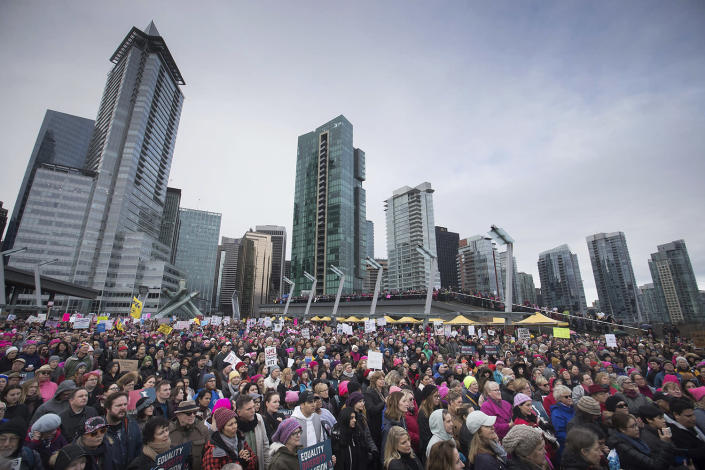 <p>Thousands of people gather for a women's march and protest against U.S. President Donald Trump, in Vancouver, British Columbia on Saturday Jan. 21, 2017. (Darryl Dyck/The Canadian Press via AP) </p>