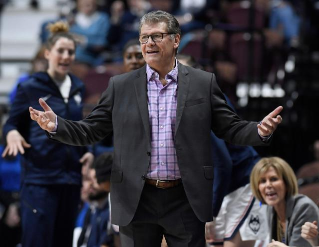 Connecticut head coach Geno Auriemma doesn't care where his team plays its regional, but women's basketball fans sure do. (AP Photo/Jessica Hill)