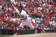 St. Louis Cardinals starting pitcher Adam Wainwright throws during the first inning of a baseball game against the Minnesota Twins on Sunday, Aug. 1, 2021, in St. Louis. (AP Photo/Joe Puetz)