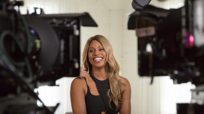 """This image released by Netflix shows Laverne Cox in a scene from """"Disclosure,"""" Sam Feder's documentary that surveys trans representation in film and TV. The film took home the GLAAD award for Outstanding Documentary. (Ava Benjamin Shorr/Netflix via AP)"""