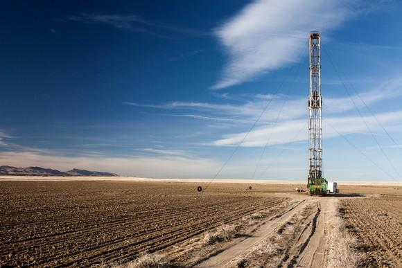 A rig for drilling shale oil.