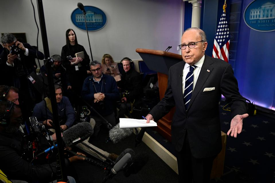 White House National Economic Council Director Larry Kudlow speaks to reporters in the briefing room of the White House in Washington, Tuesday, Jan. 22, 2019. (AP Photo/Susan Walsh)