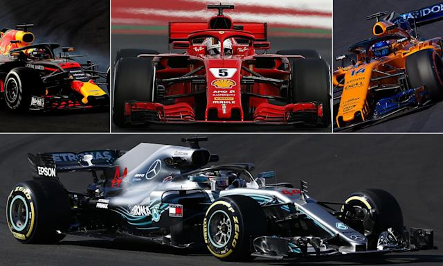 Clockwise from top left: Max Verstappen, Sebastian Vettel, Fernando Alonso and Lewis Hamilton.