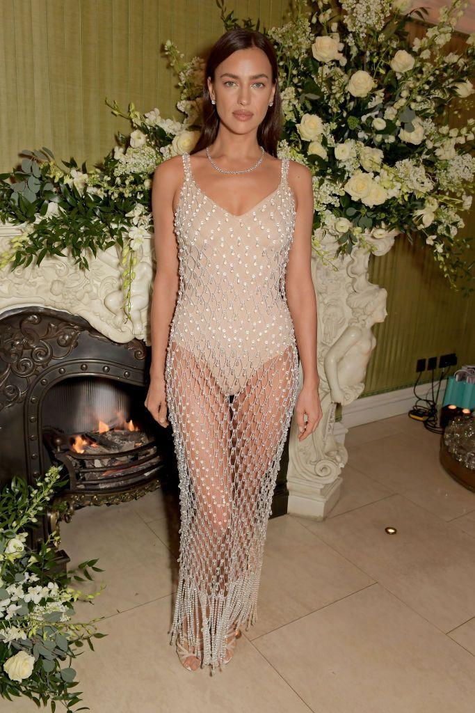 <p>Shayk wore a Burberry crystal dress over a nude bodysuit to the London event. </p>
