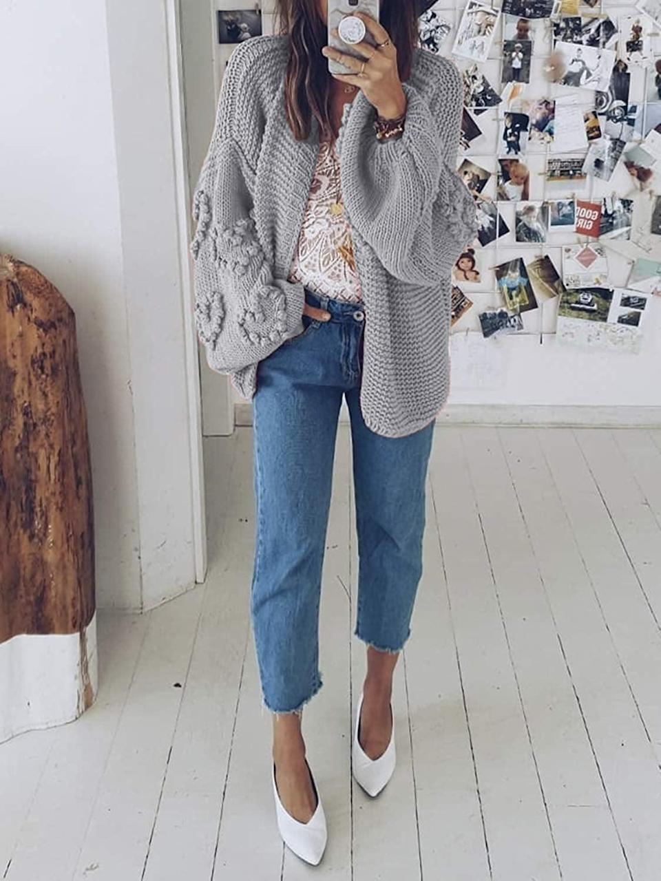 <p>Throw on this <span>Simplee Oversized Knit Cardigan</span> ($30) over your favorite tee or camisole.</p>