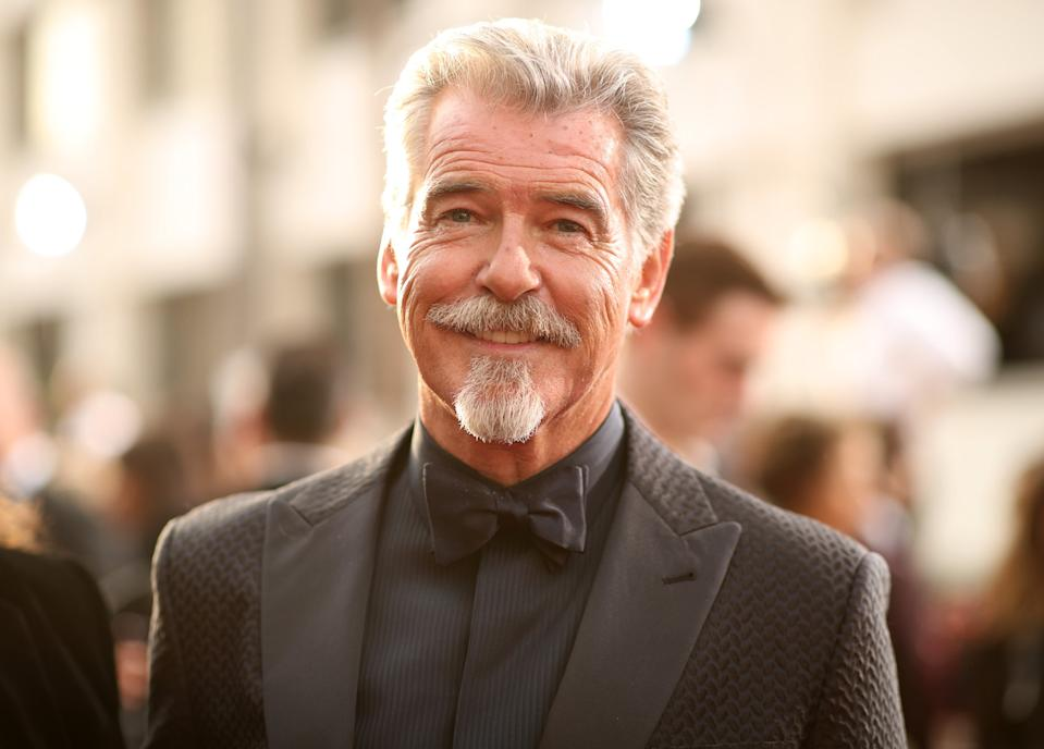 Pierce Brosnan debuted a goatee on the Golden Globes 2020 red carpet [Photo: Getty]