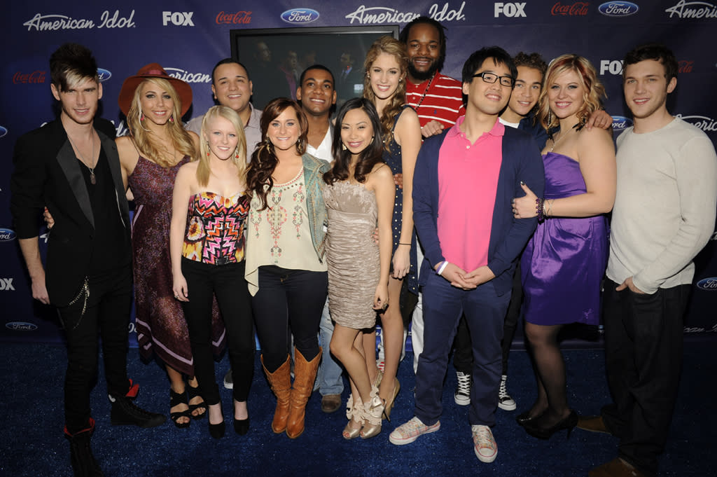 """The """"<a href=""""http://tv.yahoo.com/american-idol/show/34934"""">American Idol</a>"""" Top 13 finalists attend a party in their honor on Thursday, March 1 at The Grove in Los Angeles, CA."""