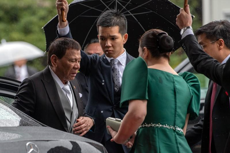 Philippines President Rodrigo Duterte arrives for the enthronement ceremony of Japan's Emperor Naruhito at the Imperial Palace in Tokyo