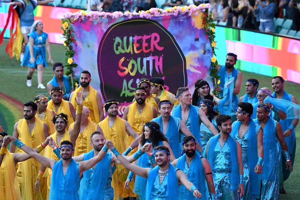 Trikone Australia which empowers queer South Asians at the 43rd Sydney Gay and Lesbian Mardi Gras Parade at the SCG on March 06, 2021 in Sydney, Australia. (Photo: James D. Morgan/Getty Images)