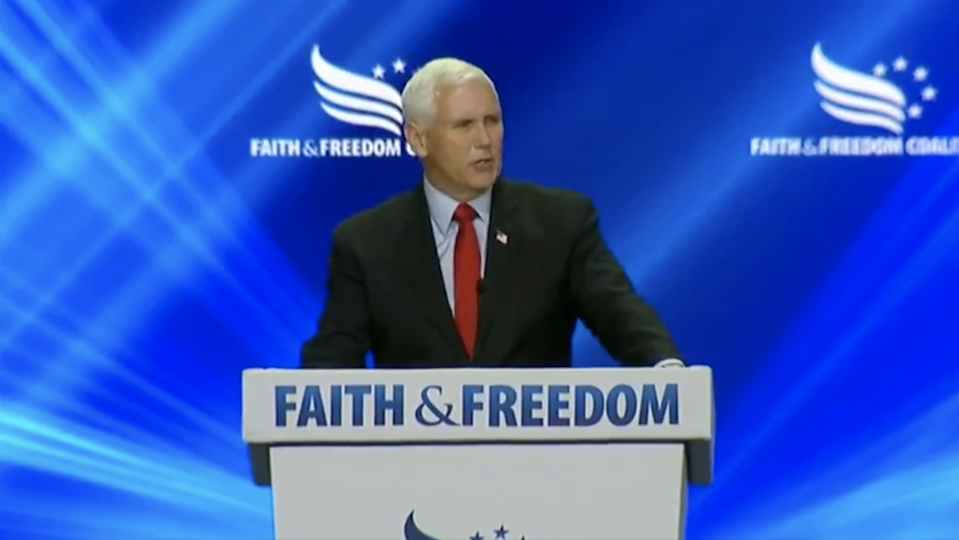 Mike Pence gets heckled at a Faith & Freedom Coalition event in Orlando, Florida (Faith & Freedom Coalition)