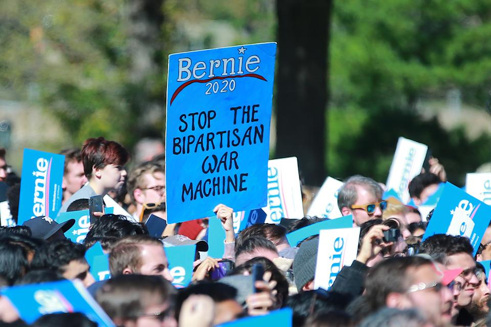 Supporters await Vermont senator and Democratic presidential candidate Bernie Sanders as he campaigns at the Bernie's Back Rally in Long Island City, New York on Saturday, Oct. 19, 2019. (Photo: Gordon Donovan/Yahoo News)