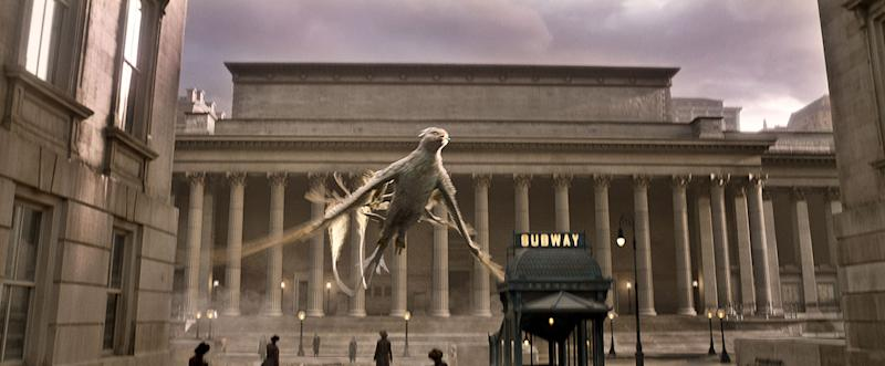One of the Fantastic Beasts flaps through New York - Credit: Warner Bros.