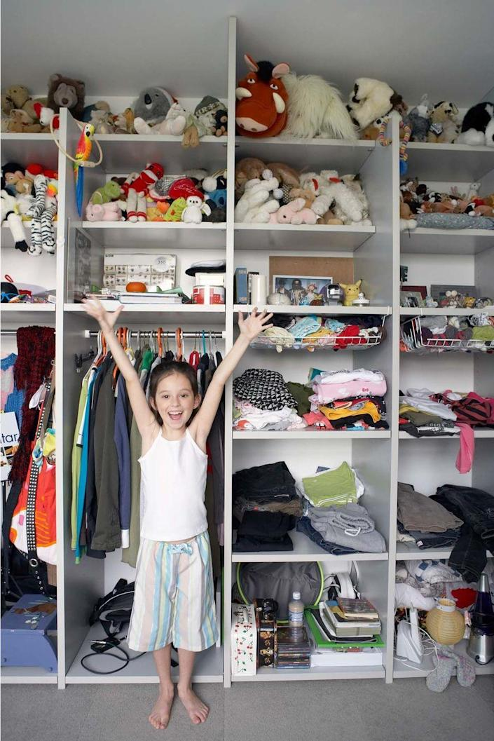 """<p>An organized closet cuts down on what-to-wear dilemmas, says Laura Leist, author of <em><a href=""""https://www.amazon.com/Eliminate-Chaos-10-Step-Process-Organize/dp/1570614679?tag=syn-yahoo-20&ascsubtag=%5Bartid%7C10070.g.3124%5Bsrc%7Cyahoo-us"""" rel=""""nofollow noopener"""" target=""""_blank"""" data-ylk=""""slk:Eliminate Chaos: The 10-Step Process to Organize Your Home & Life"""" class=""""link rapid-noclick-resp"""">Eliminate Chaos: The 10-Step Process to Organize Your Home & Life</a>.</em> Donate outgrown clothes and transform the newly streamlined closet with hanging organizers and clearly labeled shelves.</p>"""