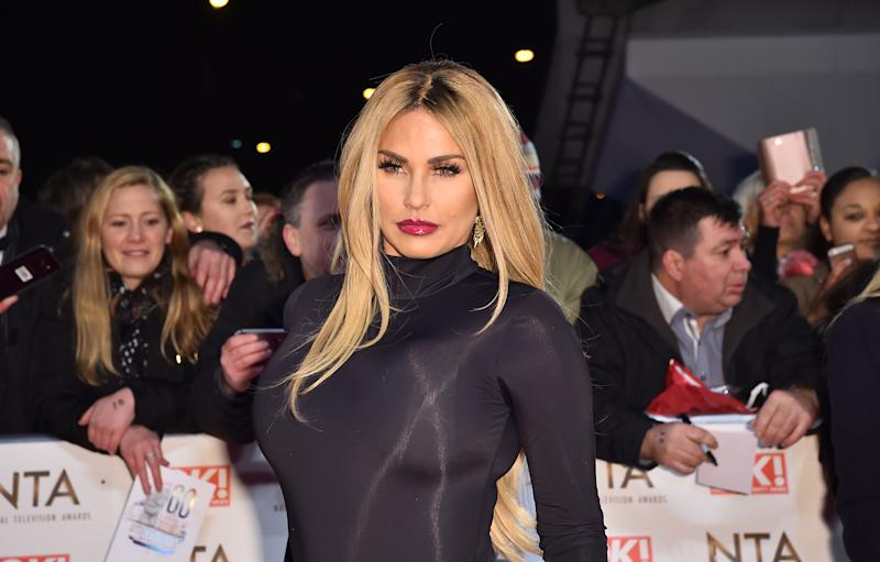 Katie Price attending the National Television Awards 2017 at the O2, London. PRESS ASSOCIATION Photo. Picture date: Wednesday January 25, 2017. (Photo by Matt Crossick/PA Images via Getty Images)