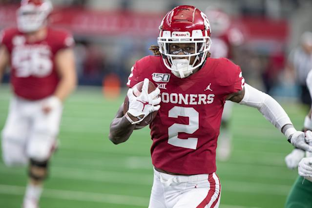 The Dallas Cowboys had to be surprised to see Oklahoma wide receiver CeeDee Lamb sitting at No. 17, and didn't hesitate to take him. (Photo by Matthew Visinsky/Icon Sportswire via Getty Images).