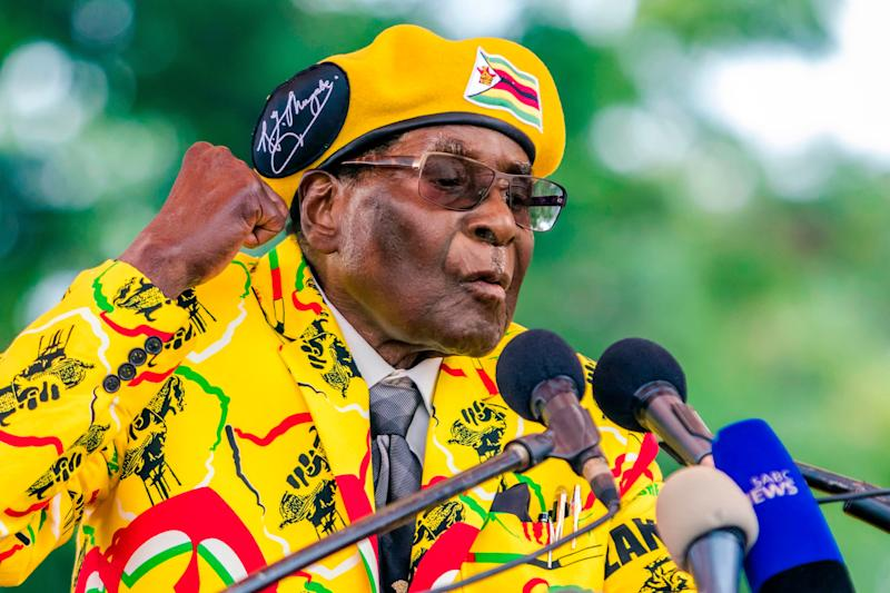 Mugabe addresses party members and supporters at his party headquarters to show support to Grace Mugabe becoming the party's next vice president after the dismissal of Emmerson Mnangagwa on Nov. 8.