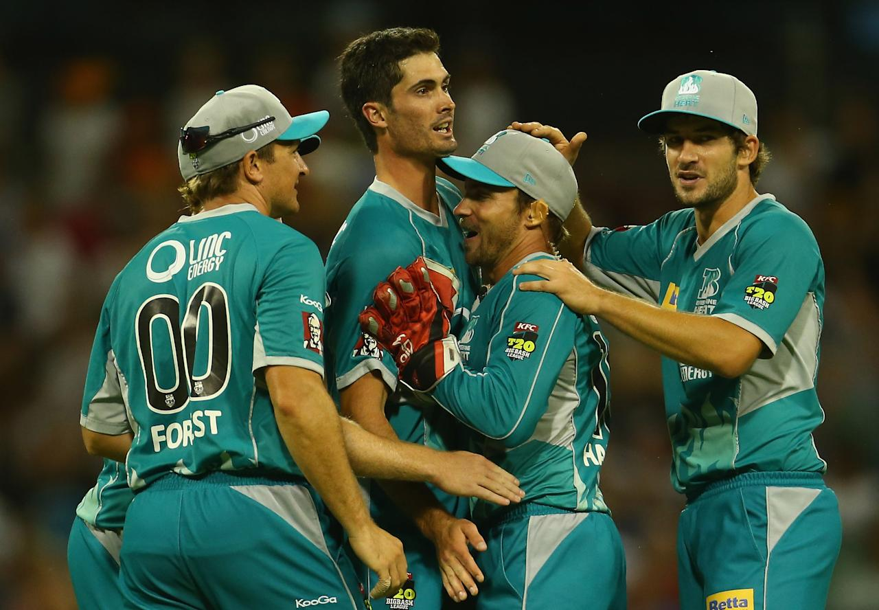 PERTH, AUSTRALIA - JANUARY 19: Ben Cutting of the Heat celebrates the wicket of Alfonso Thomas of the Scorchers during the Big Bash League final match between the Perth Scorchers and the Brisbane Heat at the WACA on January 19, 2013 in Perth, Australia.  (Photo by Robert Cianflone/Getty Images)