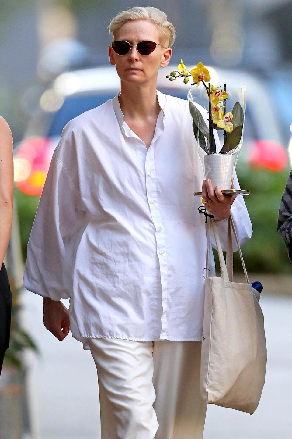 <p>Tilda Swinton was spotted shopping with a friend in Sydney, Australia.</p>