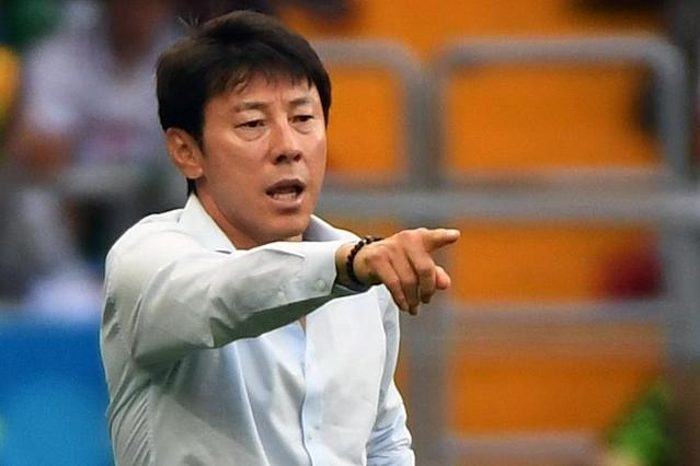 Coach Shin Tae-yong says South Korea must improve their domestic league (AFP Photo/Khaled DESOUKI)