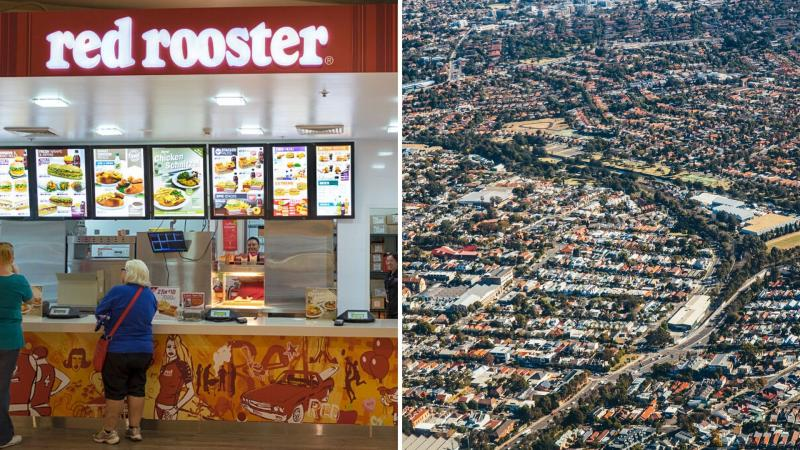 Pictured: Red Rooster store, aerial view of Sydney suburbs. Images: Getty