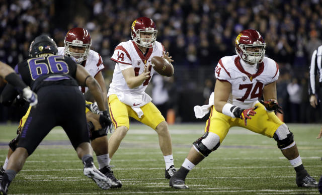 "<a class=""link rapid-noclick-resp"" href=""/ncaaf/players/255254/"" data-ylk=""slk:Sam Darnold"">Sam Darnold</a> took <a href=""https://sports.yahoo.com/ncaaf/teams/uub"" data-ylk=""slk:USC"" class=""link rapid-noclick-resp"">USC</a> to a new level in 2016 and there's room for him to improve in 2017. (AP)"