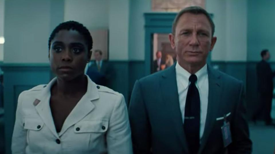 Lashana Lynch and Daniel Craig in the No Time To Die trailer (Photo: MGM)