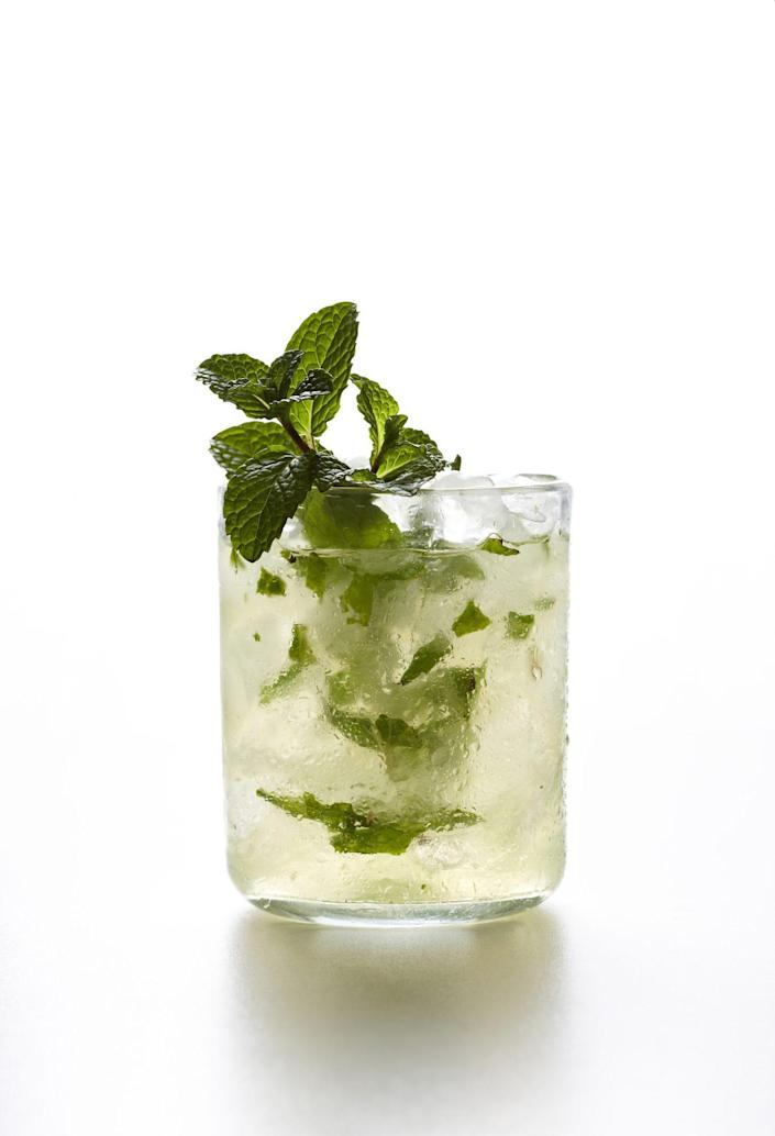 """<p><strong>Recipe: <a href=""""https://www.southernliving.com/syndication/mint-champagne-shrub"""" rel=""""nofollow noopener"""" target=""""_blank"""" data-ylk=""""slk:Mint-Champagne Shrub"""" class=""""link rapid-noclick-resp"""">Mint-Champagne Shrub</a></strong></p> <p>Plenty of mint balances out the tart vinegar flavor of this shrub cocktail. </p>"""