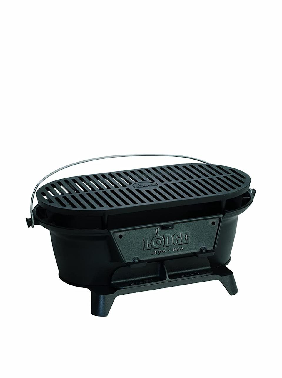 "<h3>Portable Grille</h3> <br>The cast-iron experts at Lodge have created a super-simple and seemingly indestructible charcoal grill. It's totally compact, and its iron construction ensures that it conducts heat really, <em>really</em> well.<br><br><strong>Lodge</strong> Sportsman's Grill, $, available at <a href=""https://www.amazon.com/gp/product/B00022OK2A/ref=as_at"" rel=""nofollow noopener"" target=""_blank"" data-ylk=""slk:Amazon"" class=""link rapid-noclick-resp"">Amazon</a><br><br><strong>Cuisinart</strong> GrateLifter Portable Charcoal Grill, $, available at <a href=""https://go.skimresources.com/?id=30283X879131&url=https%3A%2F%2Fwww.homedepot.com%2Fp%2FCuisinart-GrateLifter-Portable-Charcoal-Grill-CCG-100%2F202538387"" rel=""nofollow noopener"" target=""_blank"" data-ylk=""slk:Home Depot"" class=""link rapid-noclick-resp"">Home Depot</a><br>"