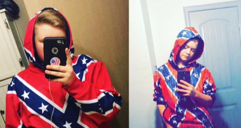 Teens wore Confederate flag hoodies and face paint to school in support of a pro-flag movement. (Photo: joshlers._.child via Instagram)