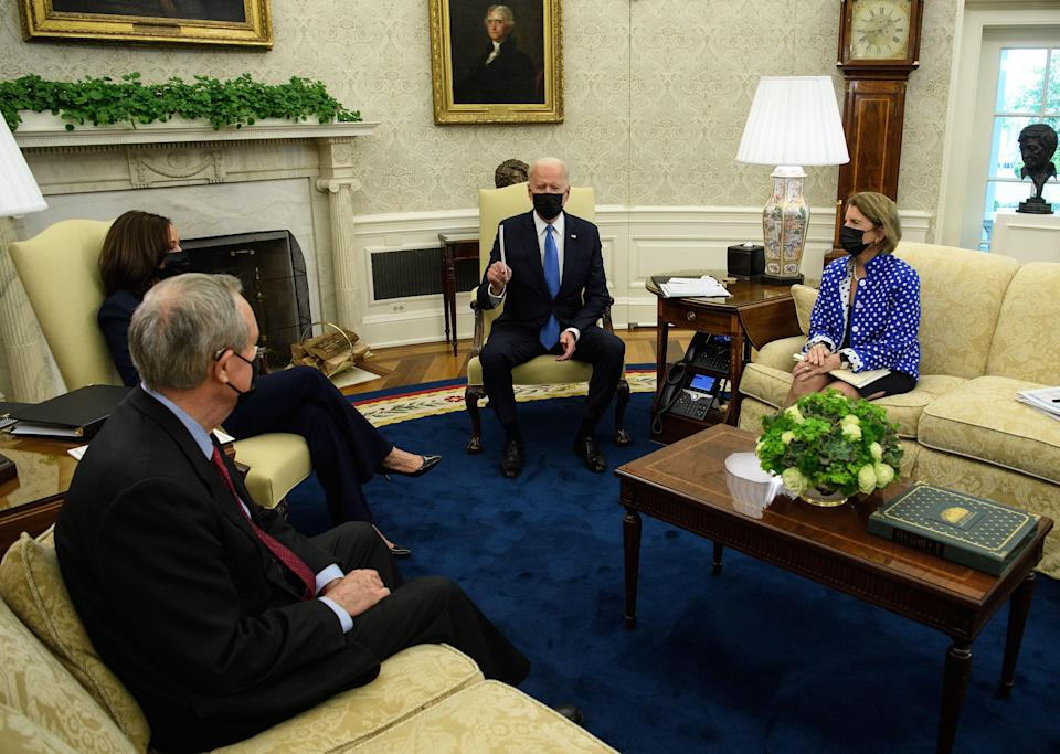 President Biden and Vice President Kamala Harris meet with Republican senators in the Oval Office at the White House on May 13, 2021. / Credit: NICHOLAS KAMM/AFP via Getty Images
