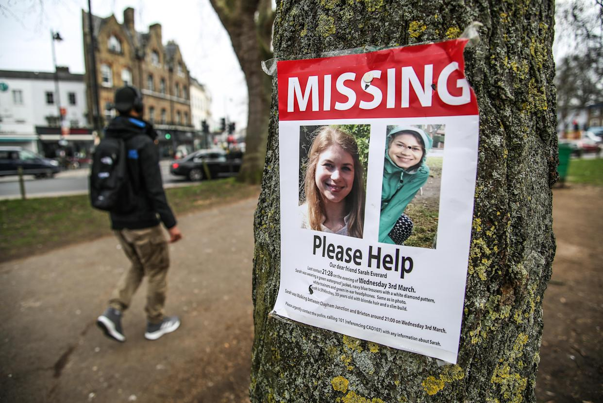 A poster appealing for information in Clapham, London, after Sarah Everard, 33, disappeared after leaving a friend's house last week. Picture Date: Monday March 8, 2021.