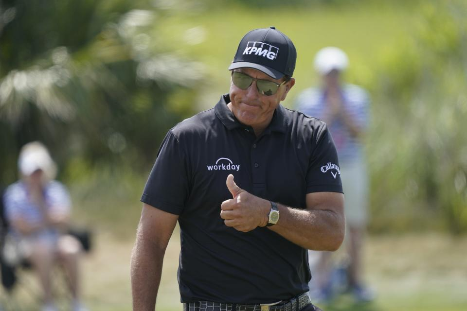 Phil Mickelson reacts on the fourth hole during the third round at the PGA Championship golf tournament on the Ocean Course, Saturday, May 22, 2021, in Kiawah Island, S.C. (AP Photo/Matt York)