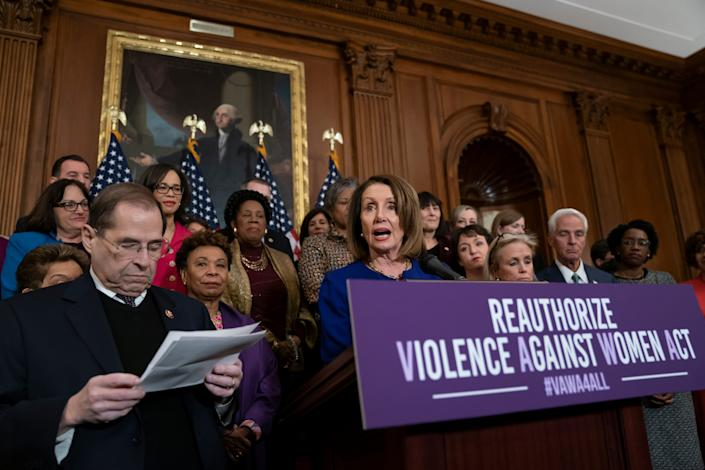 House Speaker Nancy Pelosi, D-Calif., addresses plans to reauthorize the Violence Against Women Act at the Capitol in March 2019.