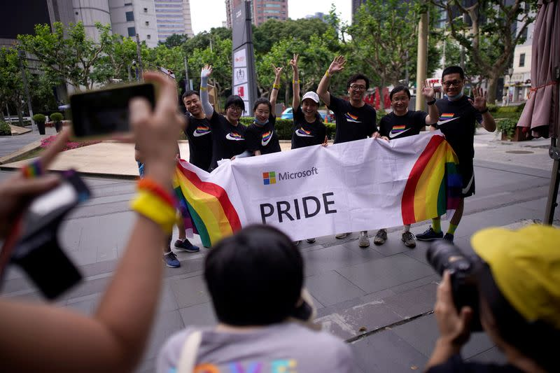 FILE PHOTO: Participants take part in a Pride Run during the Shanghai Pride festival, in Shanghai