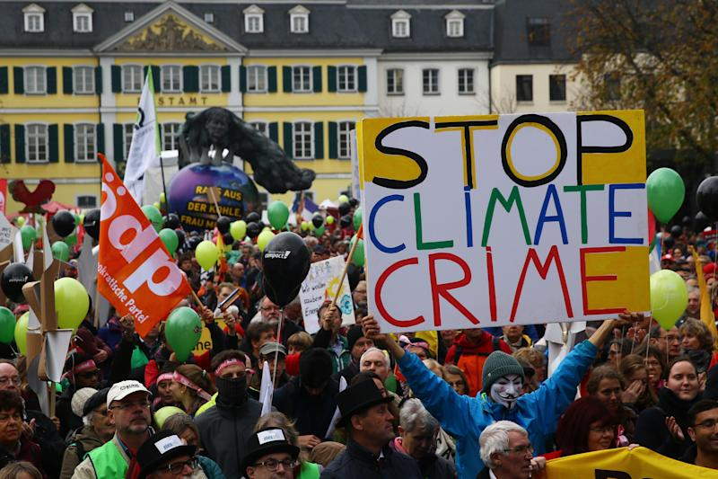 People march during a demonstration two days before the start of the COP 23 UN Climate Change Conference in Bonn, Germany, Nov. 4, 2017. (Wolfgang Rattay / Reuters)