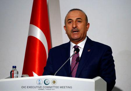 FILE PHOTO - Turkish Foreign Minister Cavusoglu speaks during a news conference after an extraordinary meeting of the OIC Executive Committee in Istanbul