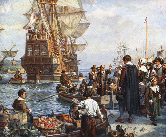 Pilgrim Fathers boarding the Mayflower. (Ann Ronan Pictures / =Getty Images)