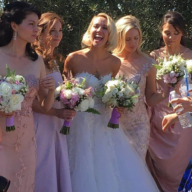 """<p>Aca-course Anna Camp asked her <em>Pitch Perfect </em>co-star Brittany Snow to be in her wedding to now-ex Skylar Astin. Brittany wore <a href=""""https://www.brides.com/story/anna-camp-skylar-astin-wedding-photos"""" rel=""""nofollow noopener"""" target=""""_blank"""" data-ylk=""""slk:an ornate pink gown"""" class=""""link rapid-noclick-resp"""">an ornate pink gown</a>.</p><p><a href=""""https://www.instagram.com/p/BKNQGyUAacM/?utm_source=ig_embed"""" rel=""""nofollow noopener"""" target=""""_blank"""" data-ylk=""""slk:See the original post on Instagram"""" class=""""link rapid-noclick-resp"""">See the original post on Instagram</a></p>"""