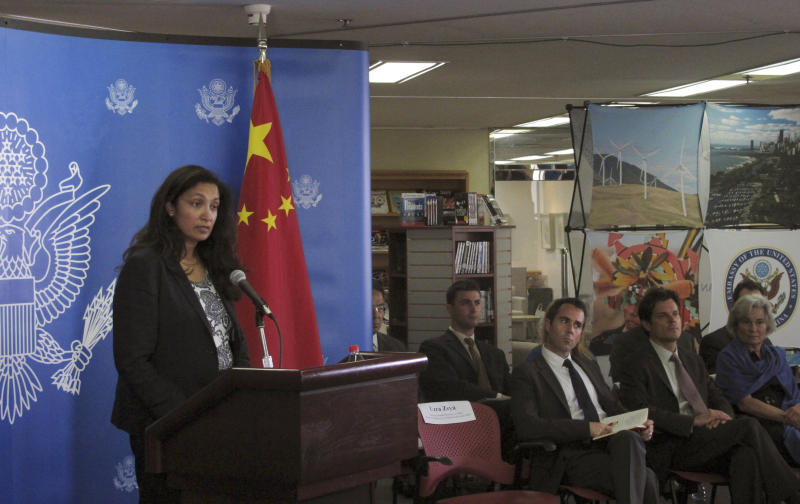 U.S. Acting Assistant Secretary of State for Democracy, Human Rights and Labor Uzra Zeya, left, speaks to reporters at a news briefing on the latest U.S.-China Human Rights Dialogue Friday, Aug. 2, 2013, in Beijing. The United States is deeply concerned about what it sees as a deteriorating human rights situation in China, with relatives of activists increasingly being harassed and policies in ethnic areas becoming more repressive, senior U.S. diplomat Zeya said Friday. (AP Photo/Didi Tang)