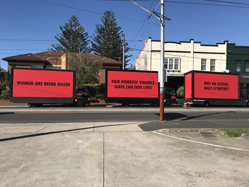 The mobile billboards outside the office of Australia's minister for women. (Australian Council of Trade Unions)