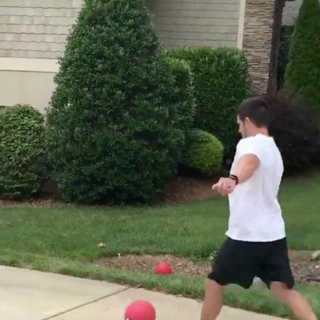 Got home today and my fam was playing kickball so I joined in. The only rule is that I'm not allowed to kick it hard.