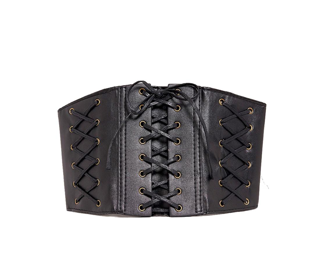 """<p>$27, <br /><a rel=""""nofollow"""" href=""""https://www.prettylittlething.us/winea-black-lace-up-detail-coset-style-belt.html """">prettylittlething.com</a> </p>"""