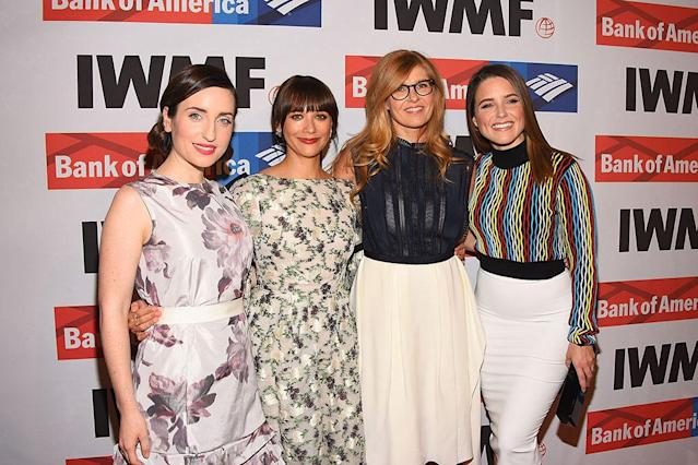 <p>Women's work! The activist actresses posed togehter on the red carpet, as they attended the International Women's Media Foundation 2017 Courage in Journalism Awards at NeueHouse Hollywood on Wednesday. (Photo: Araya Diaz/WireImage) </p>